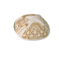 Yair Emanuel Hand Embroidered Kippah - Gold Jerusalem