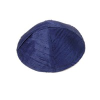 Yair Emanuel Raw Silk Kippah - Blue