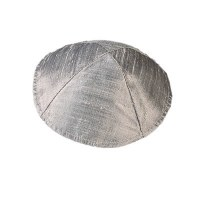 Yair Emanuel Raw Silk Kippah - Silver