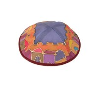 Yair Emanuel Silk Painted Kippah -  Jerusalem in Color