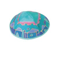 Yair Emanuel Silk Painted Kippah - Shaded Turquoise Jerusalem
