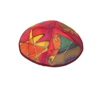Yair Emanuel Silk Painted Kippah - Red Tribes