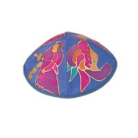 Yair Emanuel Silk Painted Kippah - Blue Figures