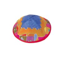 Yair Emanuel Silk Painted Kippah - Colorful Jersualem