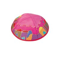 Yair Emanuel Silk Painted Kippah -  Red Jerusalem