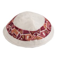 Yair Emanuel Embroidered Kippah - Geometrical Maroon Shapes