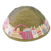 Yair Emanuel Gold Embroidered Kippah - Jerusalem
