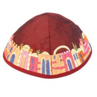 Yair Emanuel Red Embroidered Kippah - Jerusalem