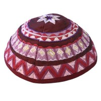 Yair Emanuel Embroidered Kippah - Magenta Geometical Shapes