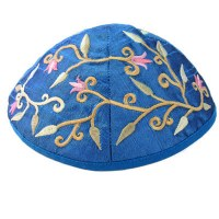 Yair Emanuel Blue Embroidered Kippah - Flowers