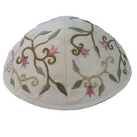 Yair Emanuel Embroidered Kippah White with Pink and Green Flower Design