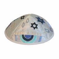 Yair Emanuel Embroidered Kippah - Blue Menorah