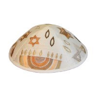 Yair Emanuel Embroidered Kippah - Gold Menorah