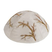 Yair Emanuel Embroidered Kippah - Gold Branches