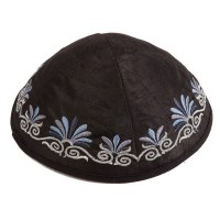 Yair Emanuel Black Embroidered Kippah - Flowers