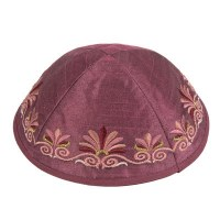 Yair Emanuel Embroidered Kippah Maroon Flower Design
