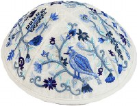 Kippah Embroidered Blue Birds and Flowers Designed by Yair Emanuel