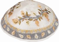 Yair Emanuel Embroidered Kippah Pomegranates Design Gold
