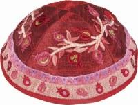 Yair Emanuel Embroidered Kippah Pomegranates - Pink