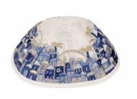 Yair Emanuel Embroidered Kippah - Jerusalem in Blue