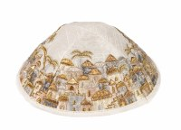 Yair Emanuel Embroidered Kippah - Jerusalem in Gold