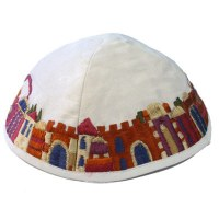 Yair Emanuel Embroidered Kippah Jerusalem Scene White