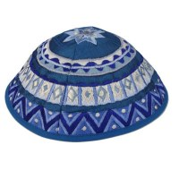 Yair Emanuel Embroidered Kippah -  Blue Geometrical Shapes
