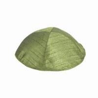 Yair Emanuel Polysilk Kippah - Olive Green