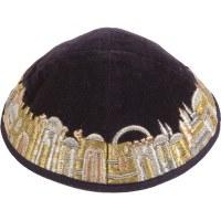 Yair Emanuel Black Velvet Embroidered Kippah with Jerusalem in Gold