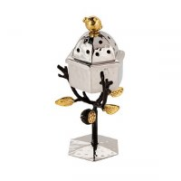 Yair Emanuel Standing Spice Box Stainless Steel Accentuated with Pomegranate Branch
