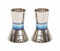 Yair Emanuel Candlesticks Hammered Metal Designed with Blue Rings 4""