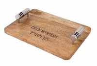 Yair Emanuel Wood Challah Board with Metal Cylinder Handles Designed with Black Rings