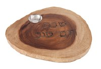Challah Board Round Natural Wood with Salt Basin Designed by Yair Emanuel 11""