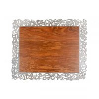 Wood Challah Board Bordered with Stainless Steel Frame