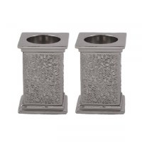 Yair Emanuel Square Candlesticks with Exquisite Metal Cutout Silver Color