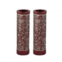 Yair Emanuel Round Candlesticks Maroon with Silver Colored Exquisite Metal Cutout