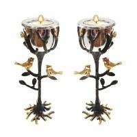 """Yair Emanuel Brass Tealight Candlesticks Tree of Life Design 8"""""""