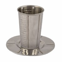 Yair Emanuel Stainless Steel Kiddush Cup and Tray Hammered Style Accentuated with Vertical Stripes Design