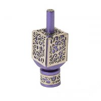 Decorative Dreidel on Base Purple Anodized Aluminum with Silver Metal Cutout Pomegranate Design Size Small by Yair Emanuel