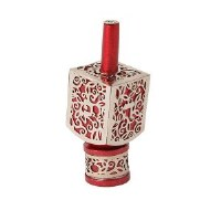 Decorative Dreidel on Base Red Anodized Aluminum with Silver Metal Cutout Pomegranate Design Size Small by Yair Emanuel