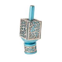 Decorative Dreidel on Base Turquoise Anodized Aluminum with Silver Colored Metal Cutout Floral Design Size Large by Yair Emanuel