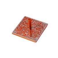 Flat Dreidel Decorative Orange Anodized Aluminum Cutout Design by Yair Emanuel