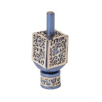 Decorative Dreidel on Base Blue Anodized Aluminum with Silver Colored Metal Cutout Floral Design Size Medium by Yair Emanuel