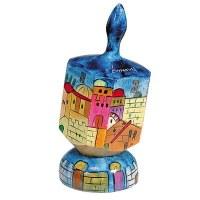 Yair Emanuel Dreidel with Stand Painted Jerusalem Scene Large - Nun, Gimmel, Hey & Shin