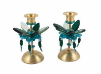 Candlesticks Bronze Metal Polymer Beads Teal and Green Small Flower Designed by Yair Emanuel