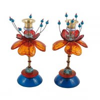 Yair Emanuel Candlesticks Beaded Green and Red Blooming Flowers Design