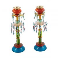Yair Emanuel Candlesticks Tall Beaded Rows of Turquoise, Orange, Green
