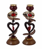 "Yair Emanuel Candlesticks Polyester Red Heart Design 9"""