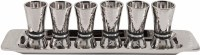 Yair Emanuel Set of 6 Liquor Cups Cone Shaped Hammered Nickel Designed with Black Rings