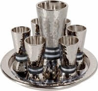 Yair Emanuel Kiddush Set Cone Shaped Hammered Nickel Designed with Black Rings